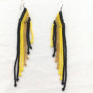 Asymmetrical Beaded Fringe/Tassel Earrings